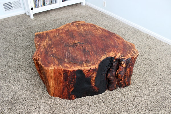 Diy stump tables for Diy wood stump side table