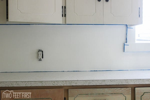 and here is my diy subway tile backsplash for cheap