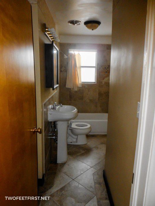 dark small bathroom
