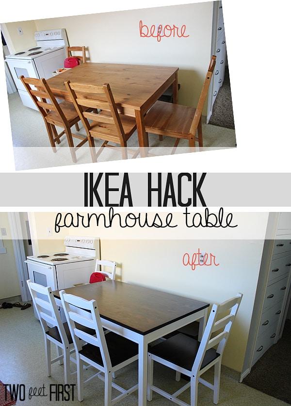 Ikea hack farmhouse table twofeetfirst for Ikea farmhouse table hack
