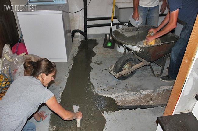 Re-Cementing Basement Floor