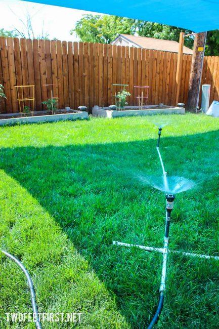 an above ground sprinkler system DIY