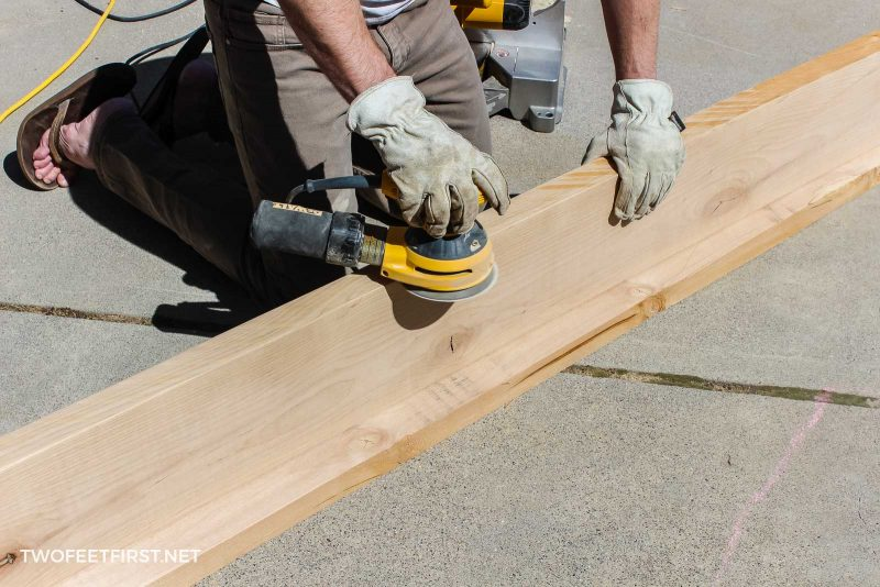 sanding wood for floating tabletop