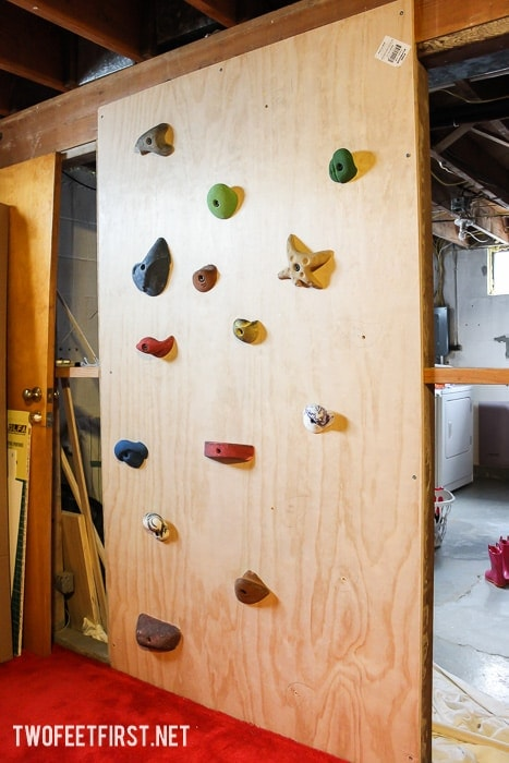 DIY a kids indoor climbing wall.