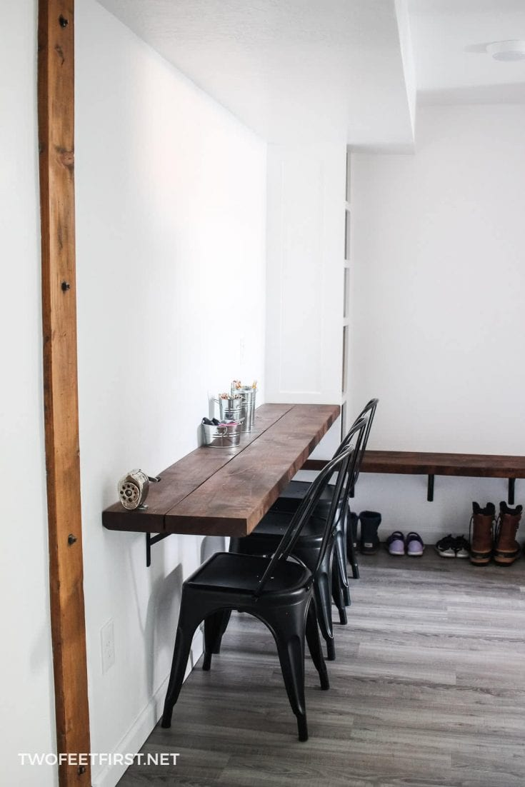 simple shelves for mudroom