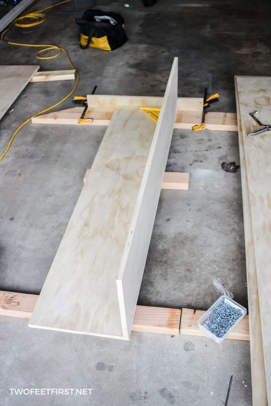 attaching two pieces of plywood