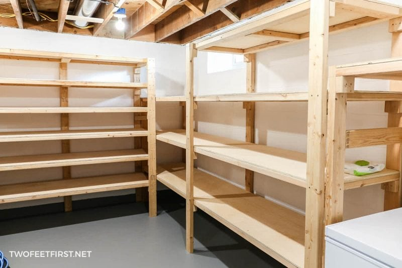 plywood and 2x4 storage shelves in basement