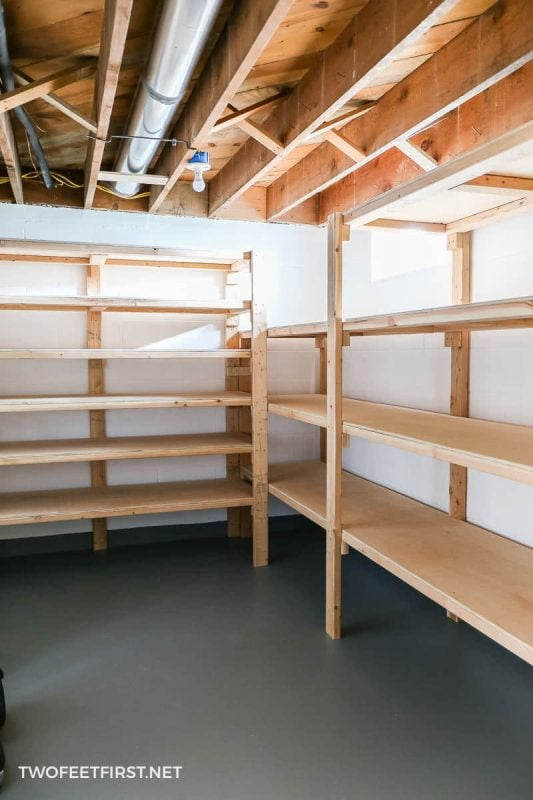 simple plywood and 2x4 shelves
