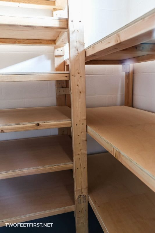 legs of wooden storage shelves