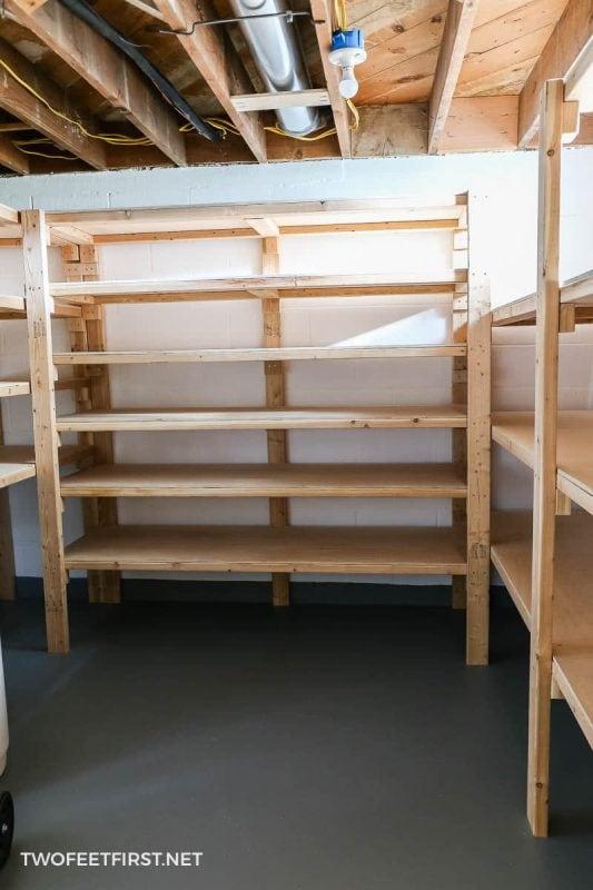 wooden storage shelves in basement