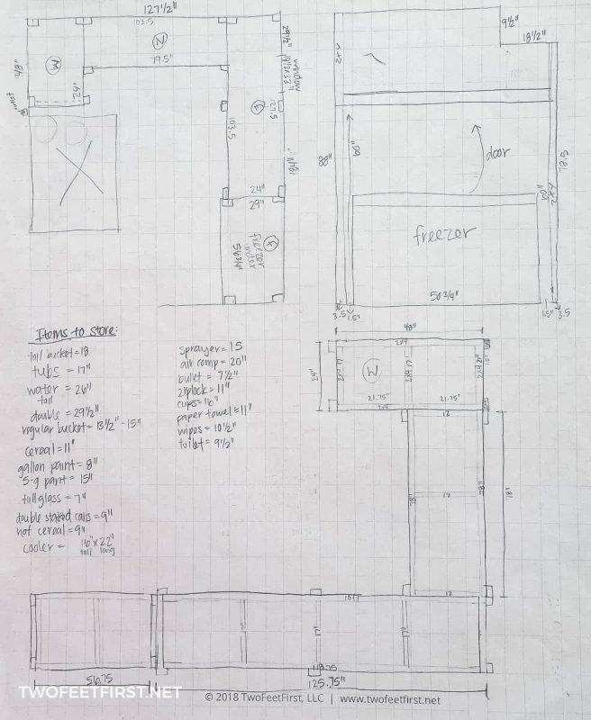 plan of storage shelves