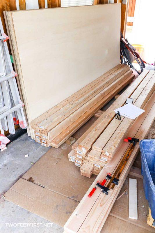 supplies to build wooden storage shelves