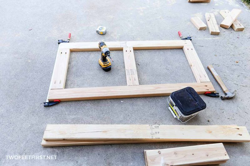 frame of storage shelves made from 2x4