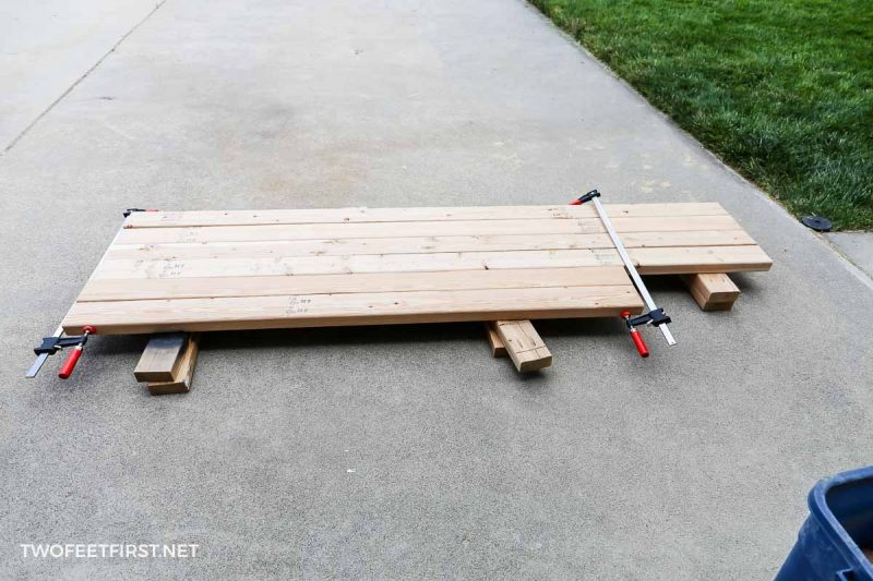 2x4s clamped together