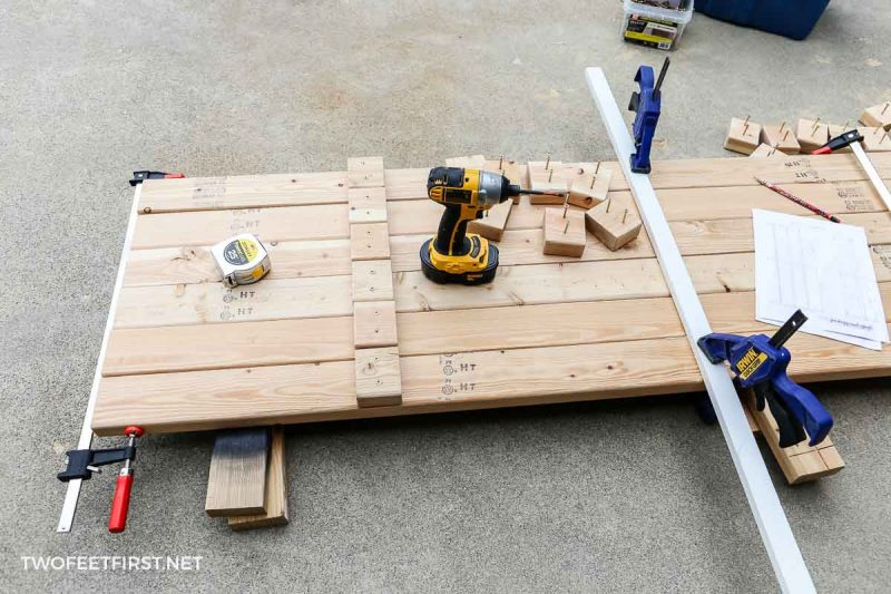 installing wood blocking for storage shelf legs