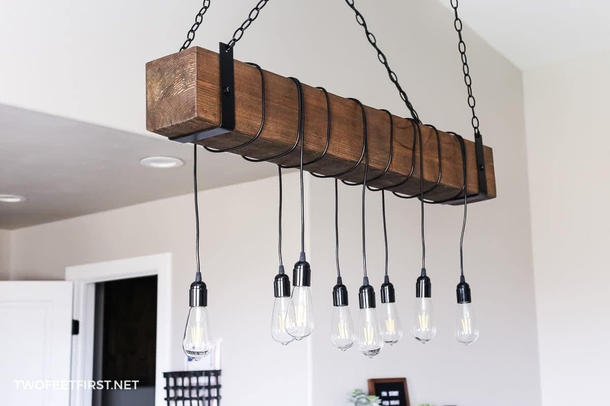 build a wood beam light fixture