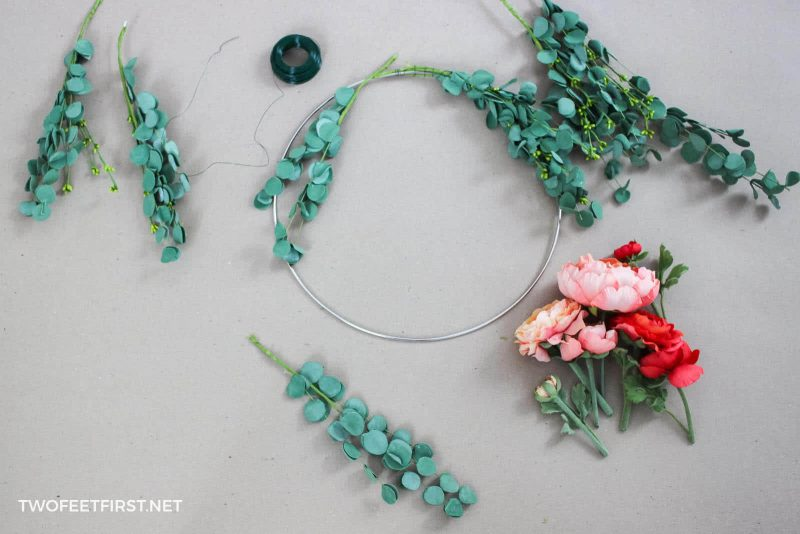 cut stems for flower wreath