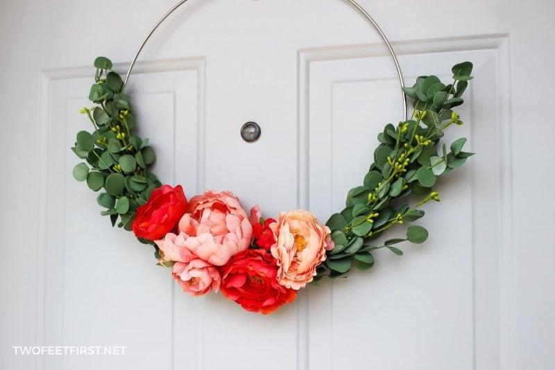 spring floral hoop wreath