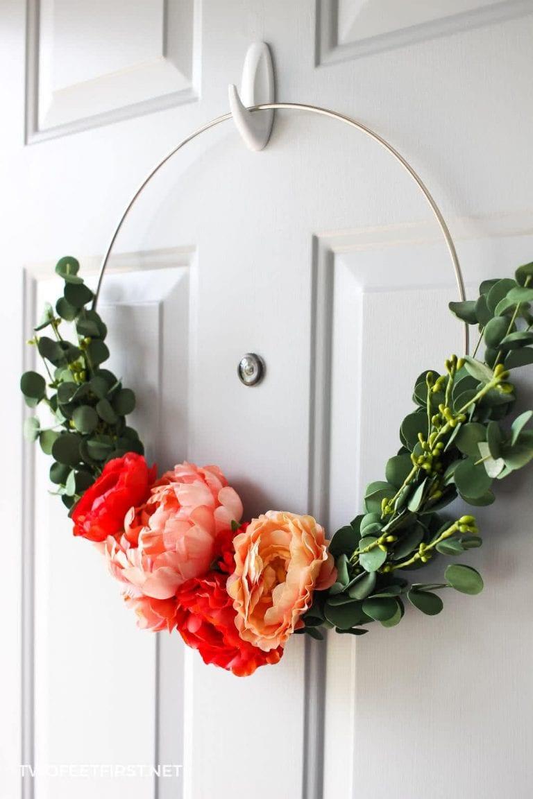 DIY Modern Floral Hoop Wreath