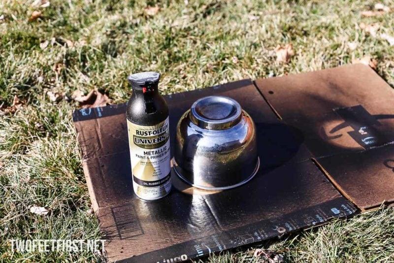 spray paint metal bowl