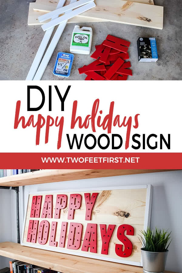 DIY happy holidays wood sign