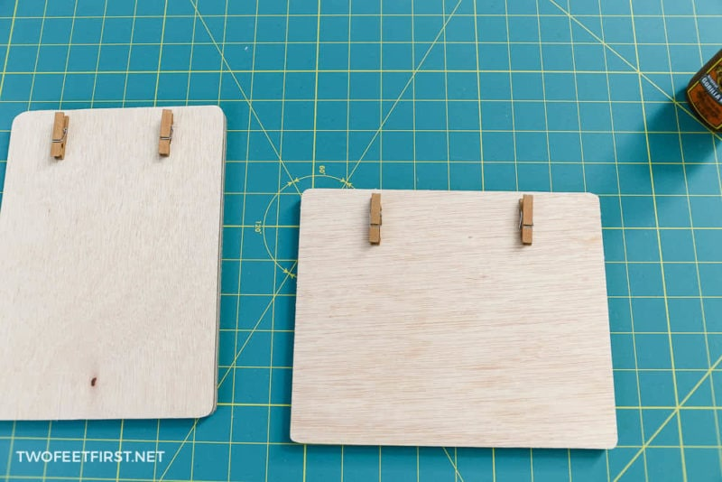 glue clothespins to frames
