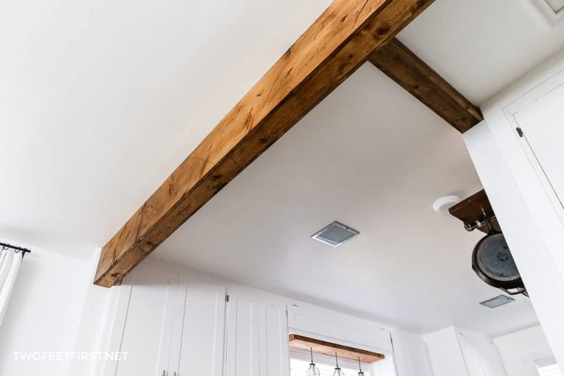 faux wood beam in home
