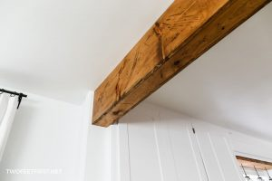 stain wood beam in home