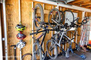 bikes on garage bike rack