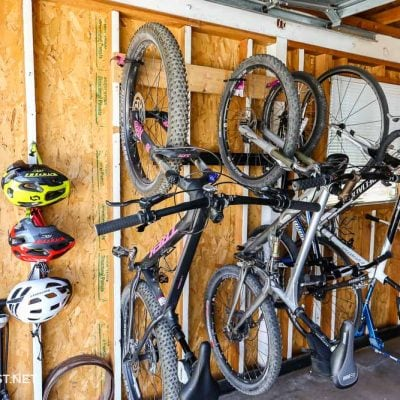 bikes on garage bike rack