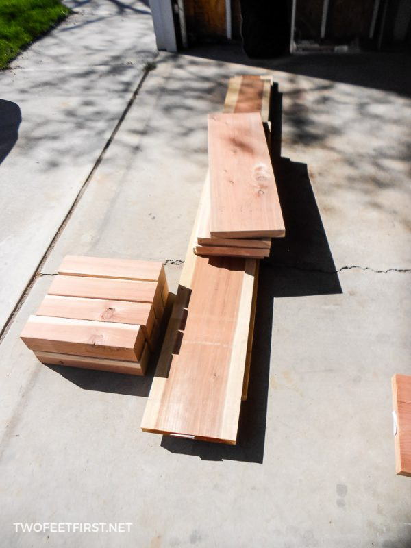 boards cut to size for raised garden boxes