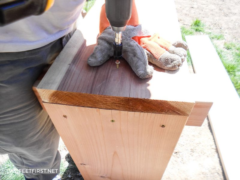 attaching side of garden box with outdoor screws