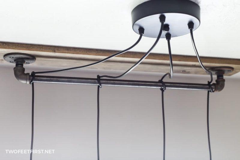 install DIY pendant light around pipe
