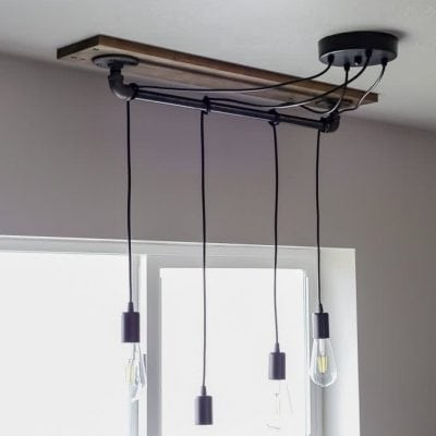 DIY pendant light wrapped around pipe