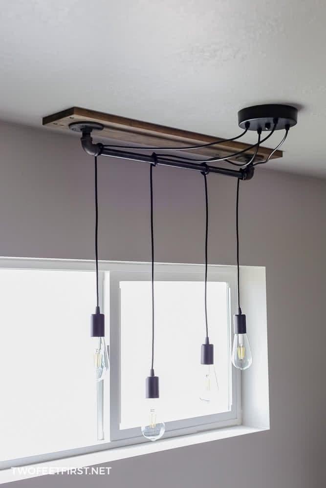 DIY Pendant Light Wrapped Around Pipe