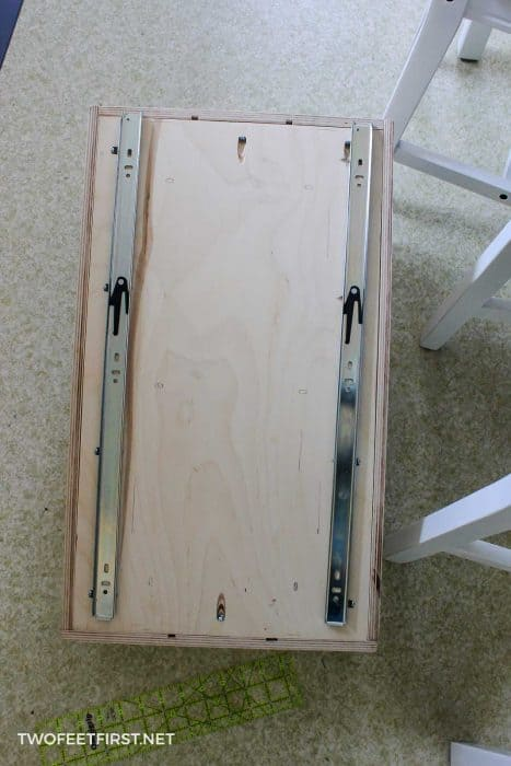 drawer slides added to pull out drawer