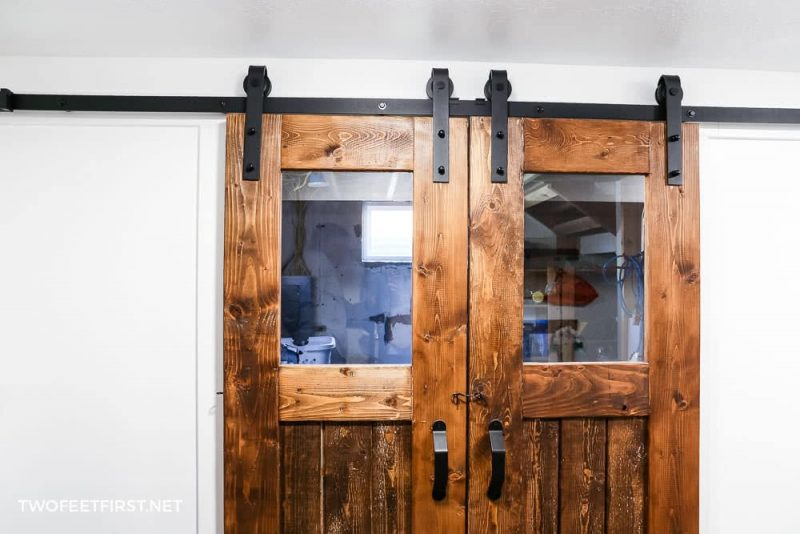 glass window in barn door
