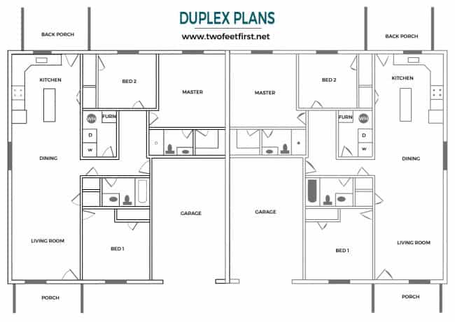 Learn the process of building a duplex. Here are plans for a 3 bed 2 bath duplex plan