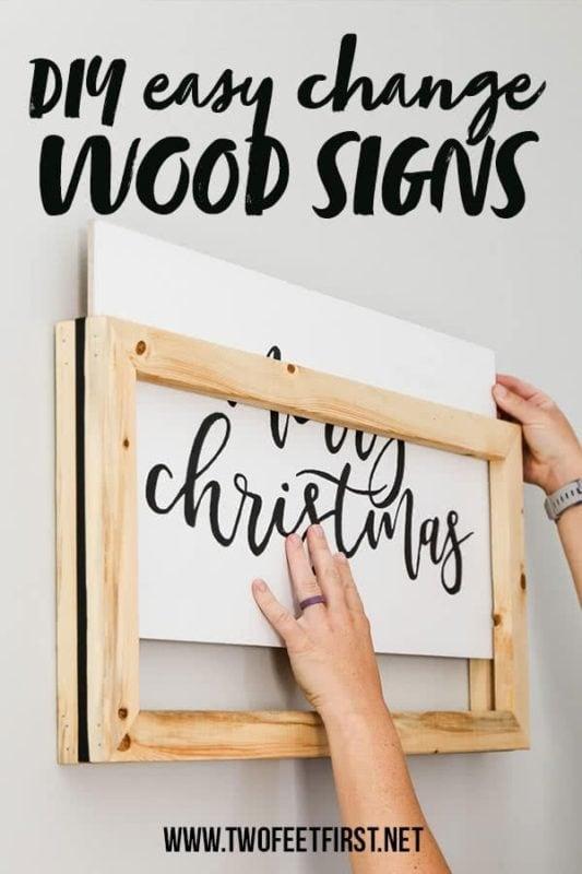 DIY easy change frame for wood sign
