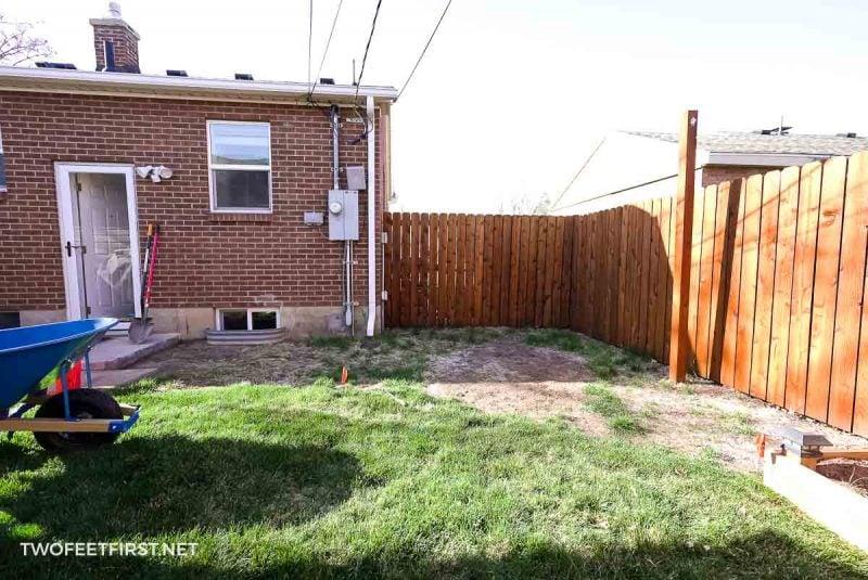 backyard before building deck
