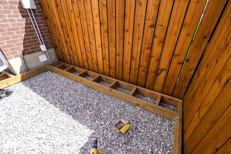 outside frame of floating deck with sleepers