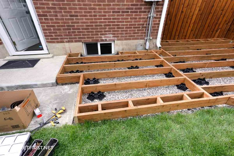 framing of floating deck with pressure treated lumber and TuffBlocks