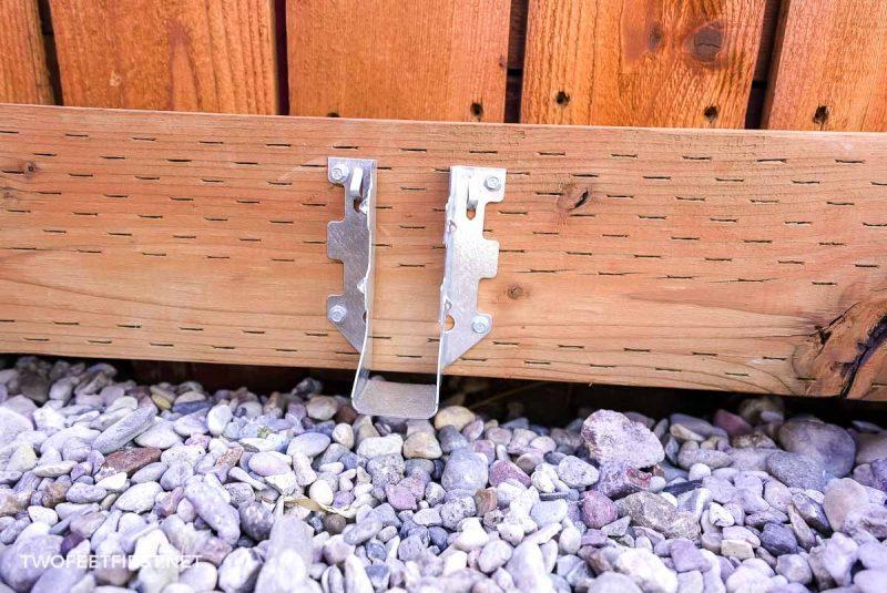 installed joist hanger for framing floating deck