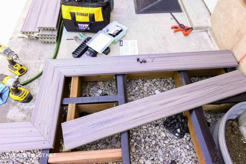 cut Trex deck board ready to install on deck
