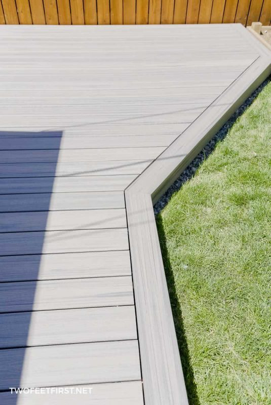 edge of floating deck with picture frame