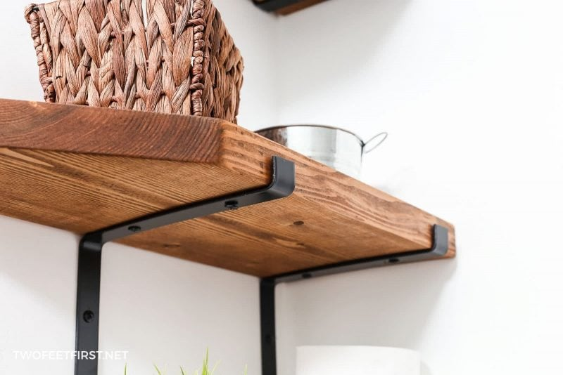 shelves with metal brackets