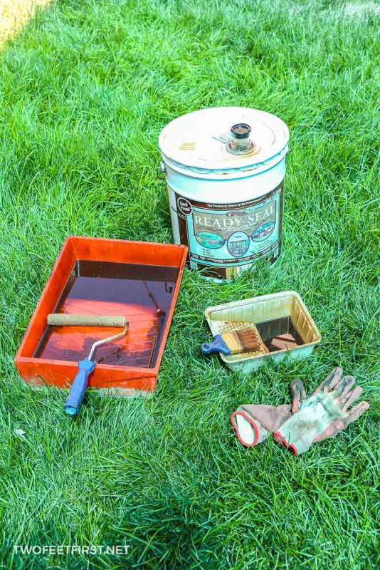 supplies to stain a fence with a roller