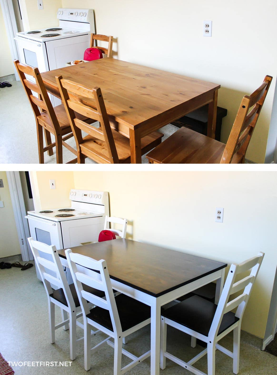Ikea table hack before and after