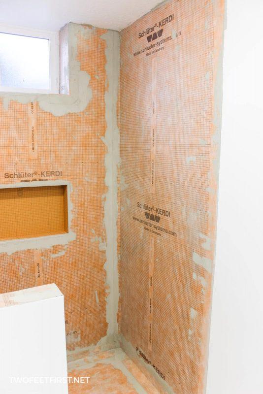 prep shower for tile with schluter kerdi membrane