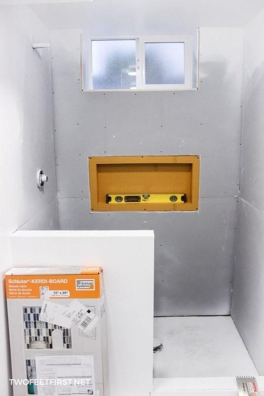 shower walls with Denshield and shower niche